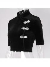 Mandarin Collar Velvet Cheongsam Design Cropped Top