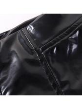 Fashion Button Decor PU Zipper Hot Shorts