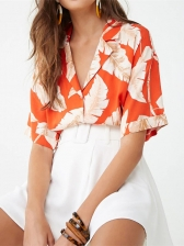 Lapel Feather Printed Button Through T-Shirt