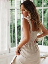 Tied Shoulder ShirredPocket Sleeveless Dress