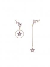 Asymmetric Star Design Rhinestone Chain Earrings