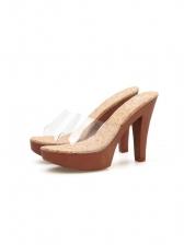 Stylish PVC Platform High Heel Clear Slippers