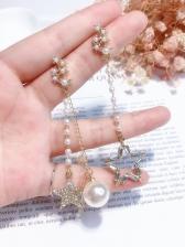 Star Rhinestone Faux Pearl Asymmetric Earrings