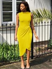 Solid Color KnotDetail Sleeveless Midi Dress