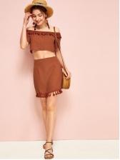 Bohemia Style Boat Neck Tassel Women Skirt Sets