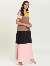 Contrast Color Short Sleeves Plus Size Maxi Dress