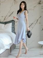 Fashion V Collar Solid Slim Ruffled Dress
