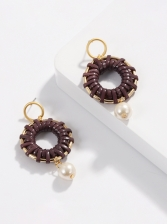 Trendy Metal Ring Weaving Faux Pearls Earring