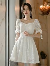 Elegant Lace Trim Big Swing Short Sleeves Dress