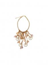 Vacation Conch Rhinestone Metal Splicing Necklace
