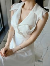 Turndown Collar Big Swing White Sleeveless Dress