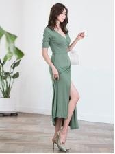 Elegant Solid Color High Slit Maxi Dress