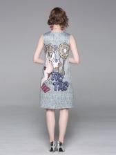 New Arrival Vintage Print Sleeveless Dress