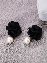 Stereo Flower Contrast Color Faux Pearl Earrings