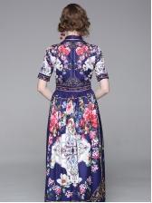 Vintage Big Swing Short Sleeve Floral Maxi Dress
