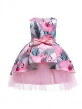 Cute Flower Printed Bow Decor Girls Flower Dress