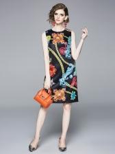 Crew Neck Chain Printed Sleeveless Dress