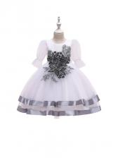 Leaves Embroidery Short Sleeves Gauze Girls Dress