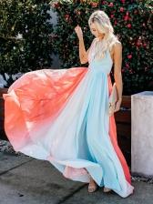Sexy Contrast Color Halter Big Swing Maxi Dress
