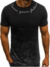 Gradient Color Crew Neck Printed T-shirt