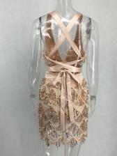 Sexy Deep V Cross Back Sequined Sleeveless Dress