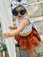 Polka Dots Binding Bow Pleated Skirt Girls Sets