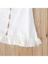 Biding Bow Lace Hem Sleeves Girls Dress