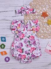 Summer Cross Belt Button Decor Floral Baby Rompers