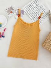 Easy Matching Strawberry Decor Knit Tank