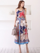 V Neck Printed Full Skirt 2 Pieces Set