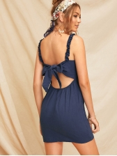 Single-Breasted Bow-wrap Backless Fitted Sundress