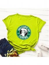 Crew Neck Cartoon Printed T-shirt For Women