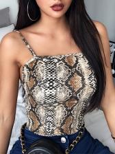 Trendy Spaghetti Strap Snake Printed Bodysuit