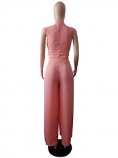 Minimalist Tie-Wrap Sleeveless Wide Leg Jumpsuit