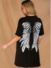 Cross Neck Plus Size Short Sleeves Black Dress