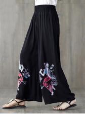 National Flower Printed Loose Long Ladies Pants