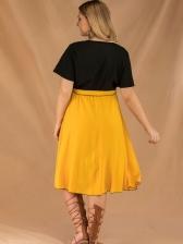Stylish Patchwork Pleated Plus Size Short Sleeves Dress