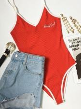 Summer Letter Embroidered Patchwork Strap Bodysuit