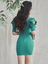 V Neck Off Shoulder Bodycon Short Dress