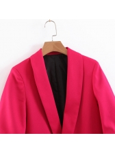 Solid Color Lapel Long Sleeve Blazer For Women