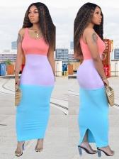 U Neck Contrast Color Skinny Maxi Dress