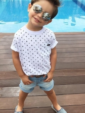 Dots Printed T-shirt With Washed Denim Shorts For Boys