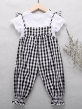 Summer Tied Shoulder Plaid Two Piece Set For Girls