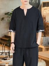 Casual Notch Collar Embroidery Half Sleeve Men T-Shirt