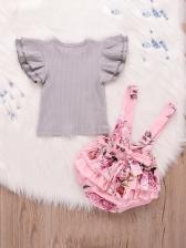 Summer Petal Sleeves Floral Baby Girls Set