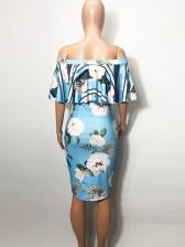 Off Shoulder Striped Flower Printed Ruffled Dress