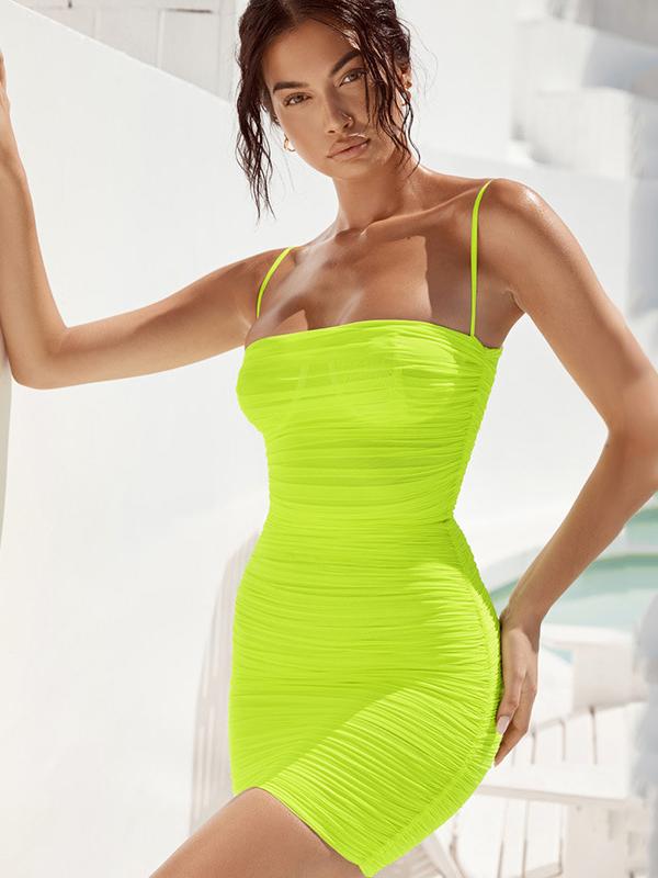 Euro Draped Spaghetti Straps Bodycon Dress