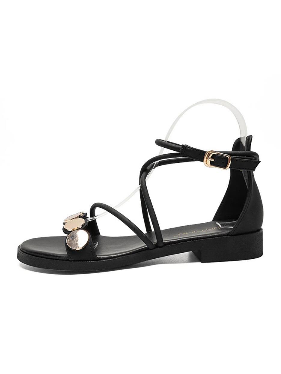 Rome Rhinestone One Buckle Female Flat Sandals