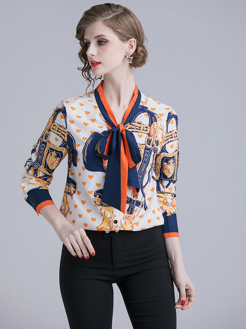 Tie Neck Collar Heart Printed Long Sleeve Blouse