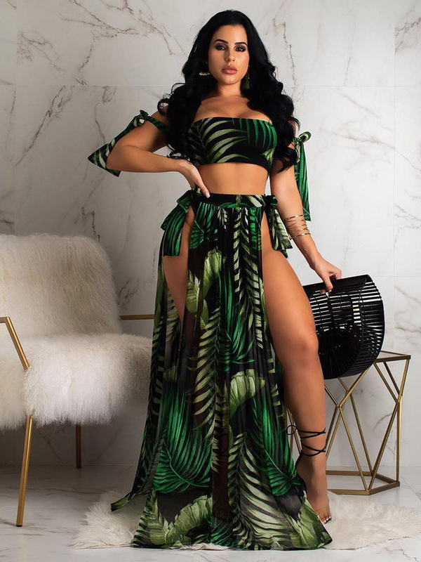 Tropical Print Off Shoulder 3 Pieces Swimsuits Outfit